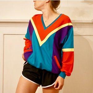 Vintage color block 90s v-neck sweatshirt